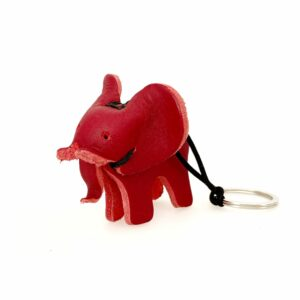 Leather Keyring Red